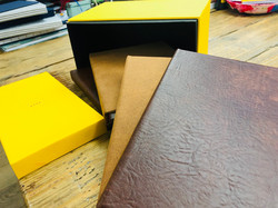 Book box with leather bound books
