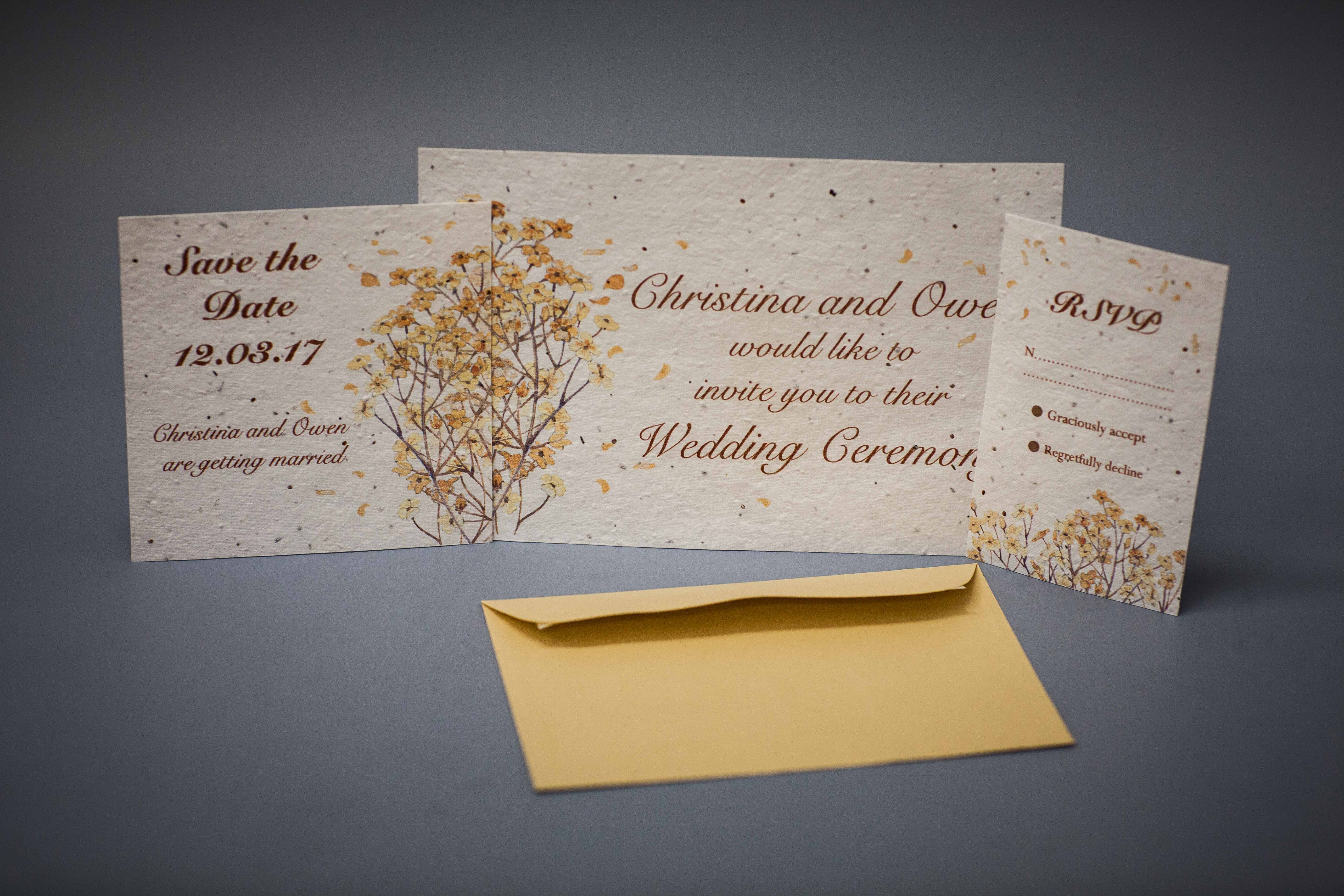 Invitations on seeded paper