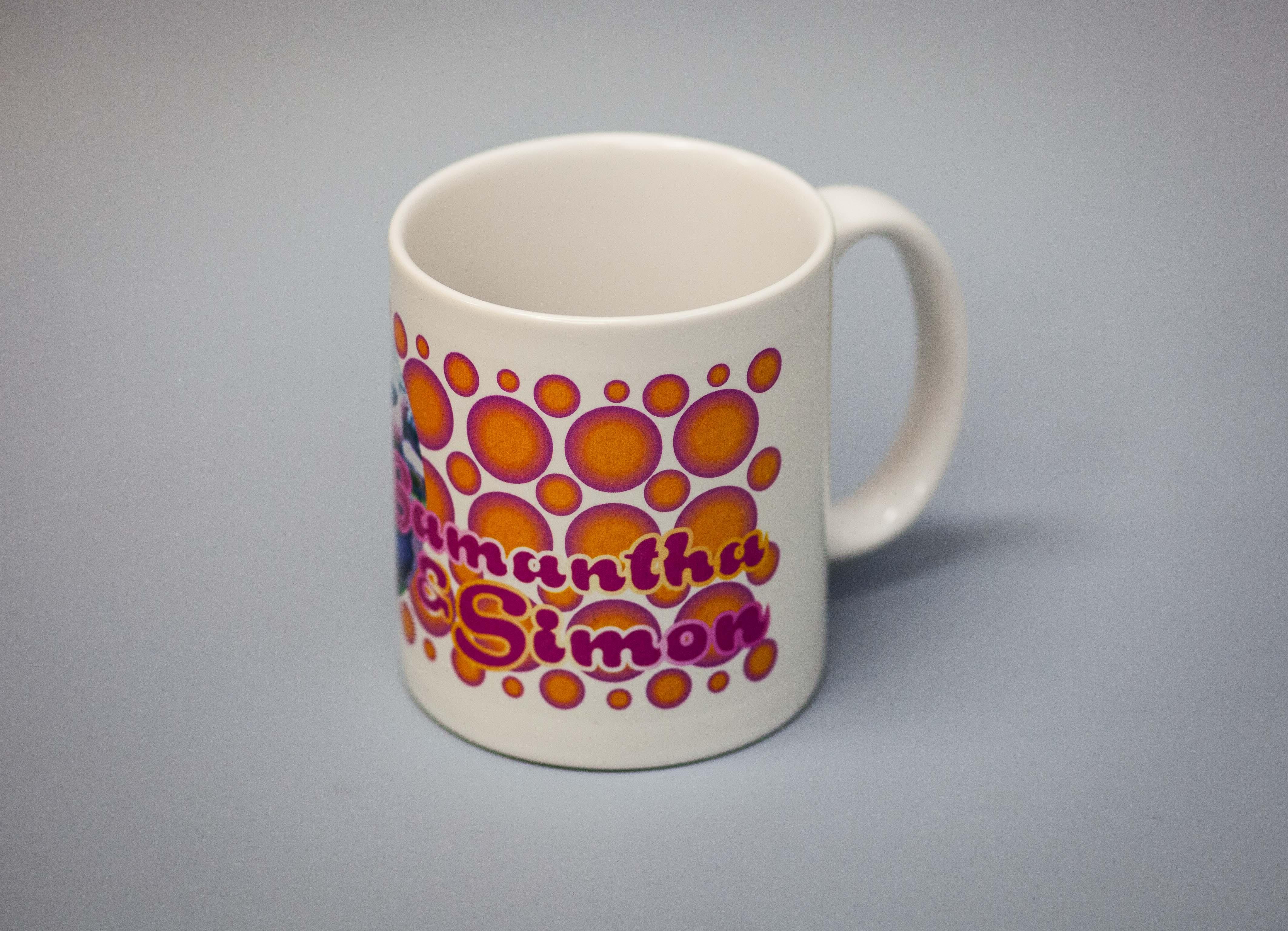 Designed and printed white mug