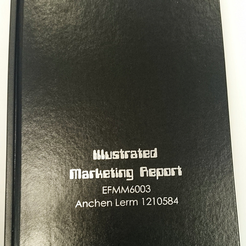 Hard cover bound diseration with siver foil