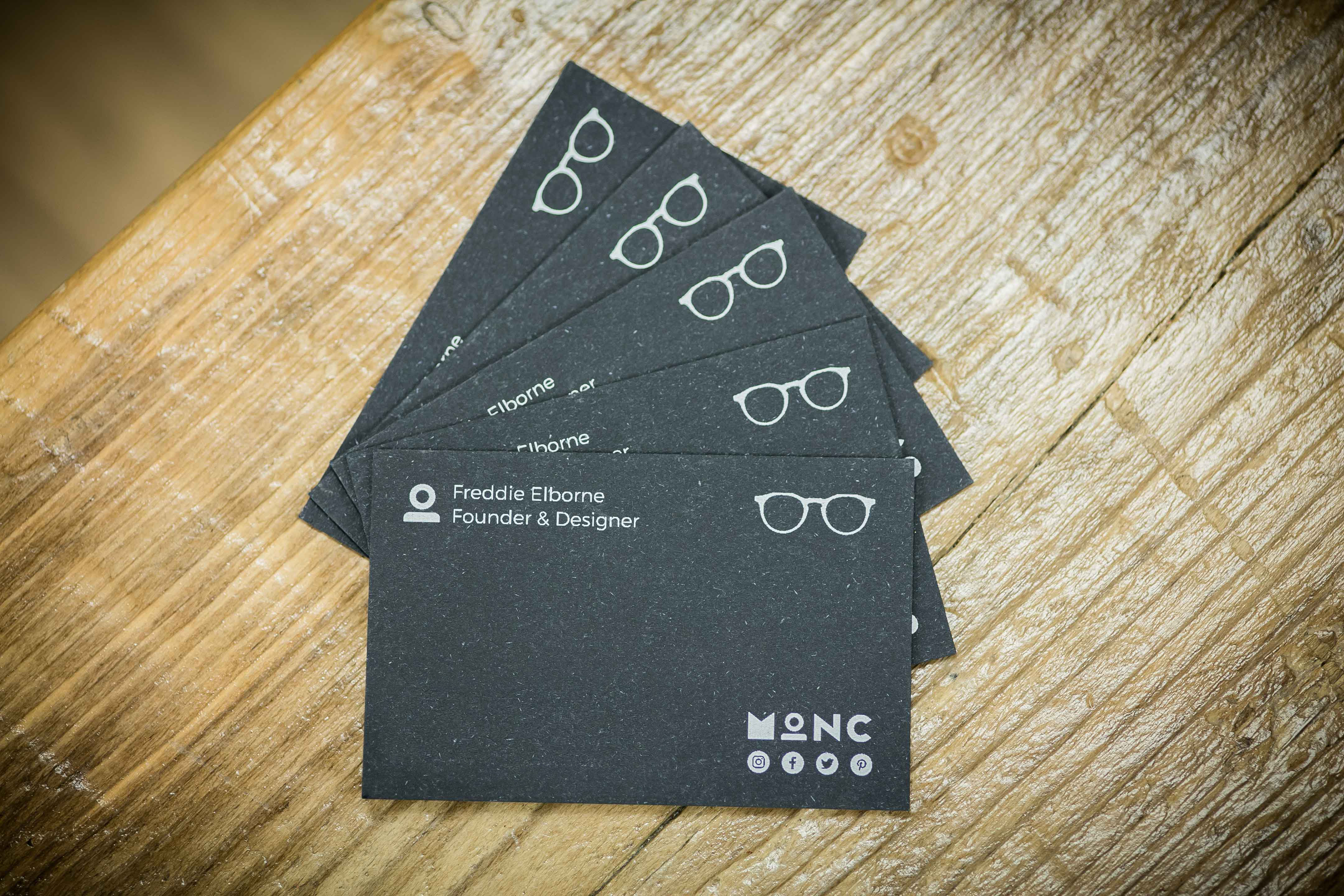 white ink printed business cards