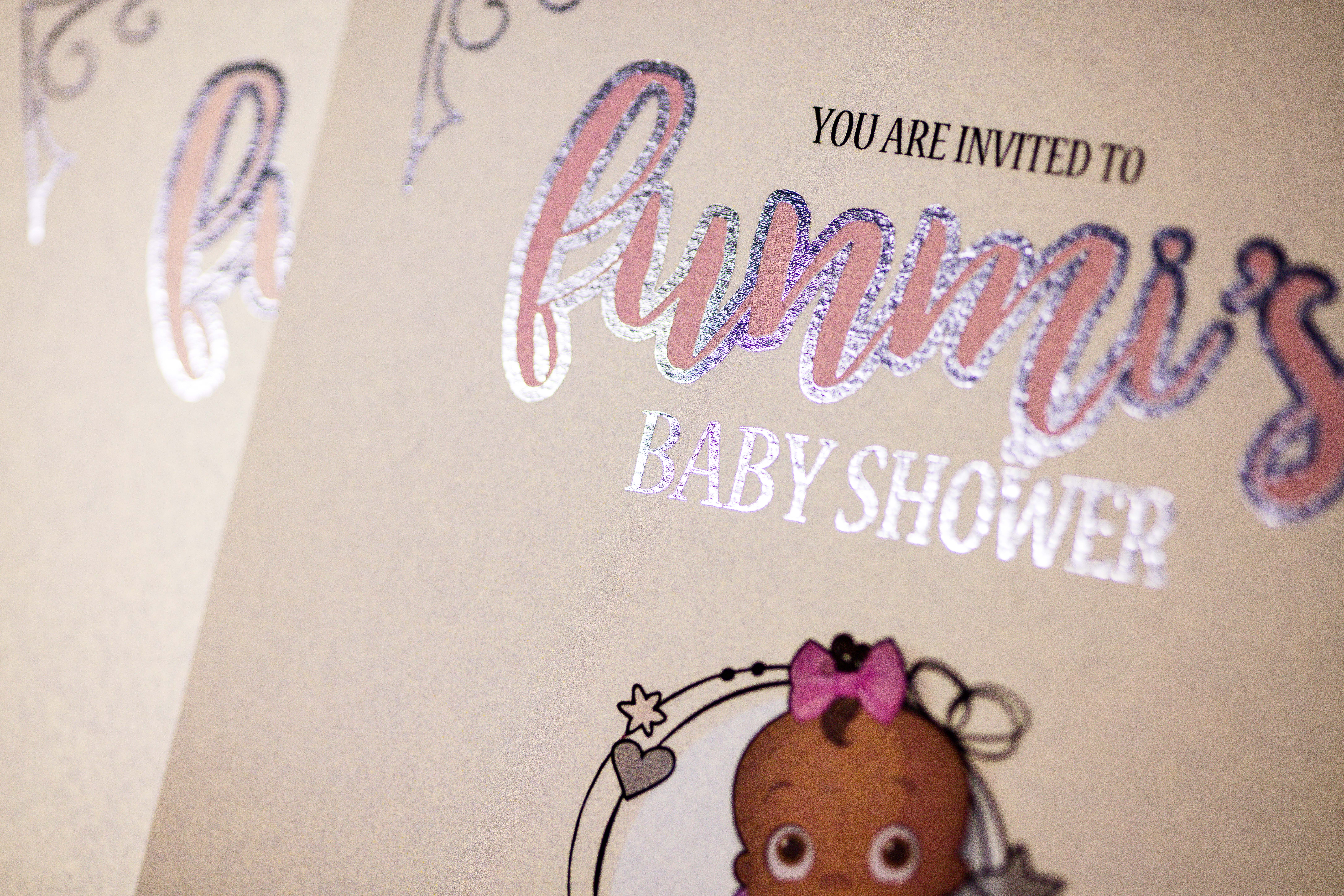 Baby shower invitation  silver foil