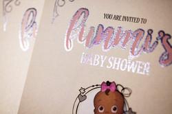 Baby shower invitation  silver foil