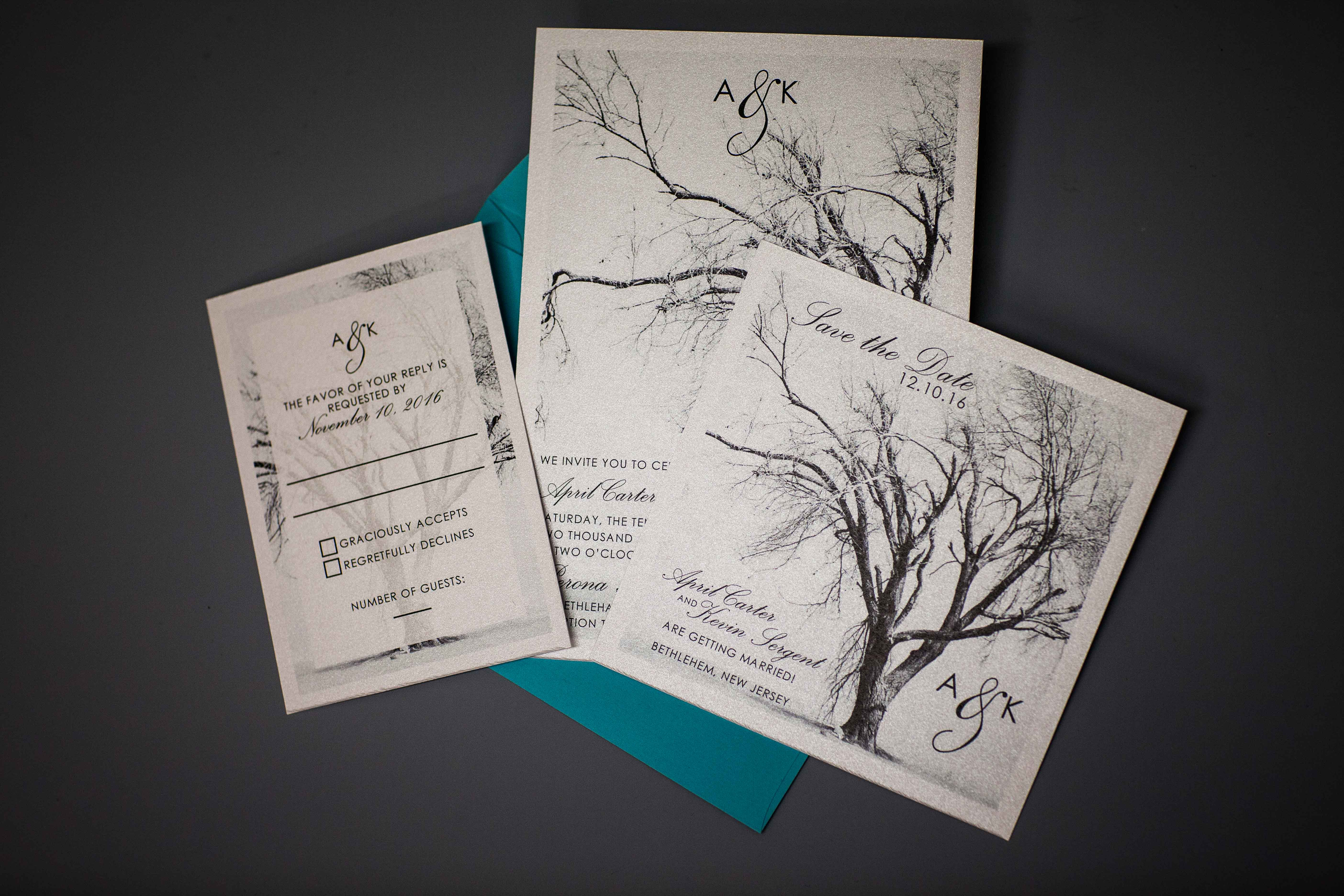Invitation set on pearlescent paper