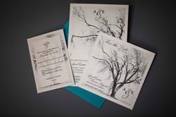Invitation set on pearlescent paper