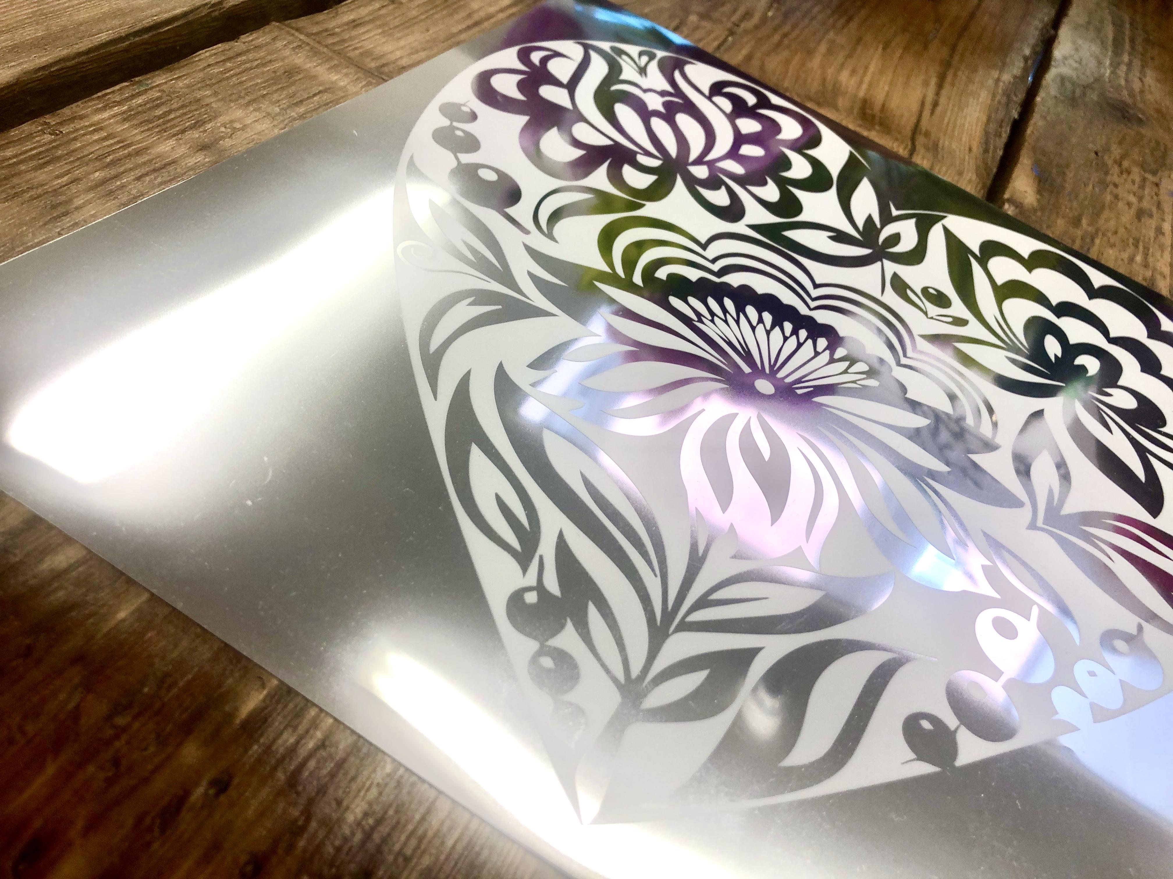 white ink print on metallic