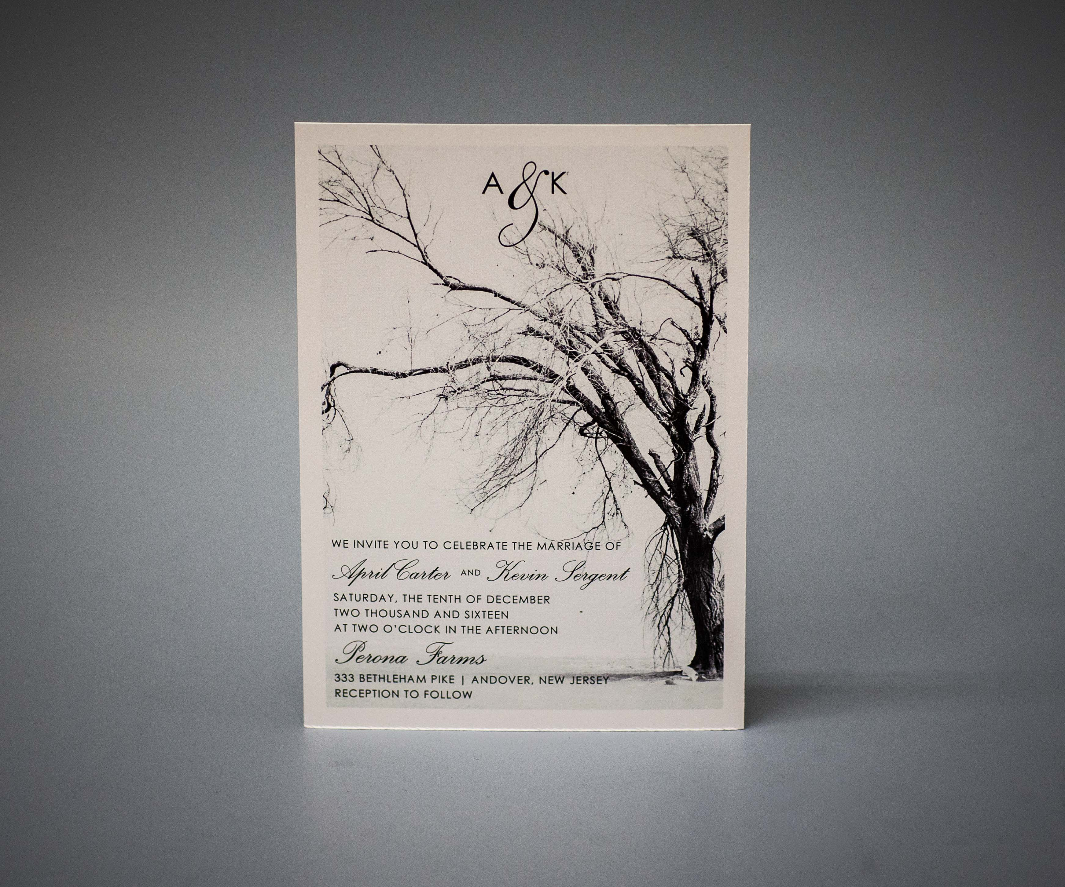 Invitation on pearlescent paper
