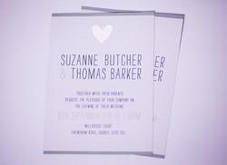 Wedding Invitation set / silver foil