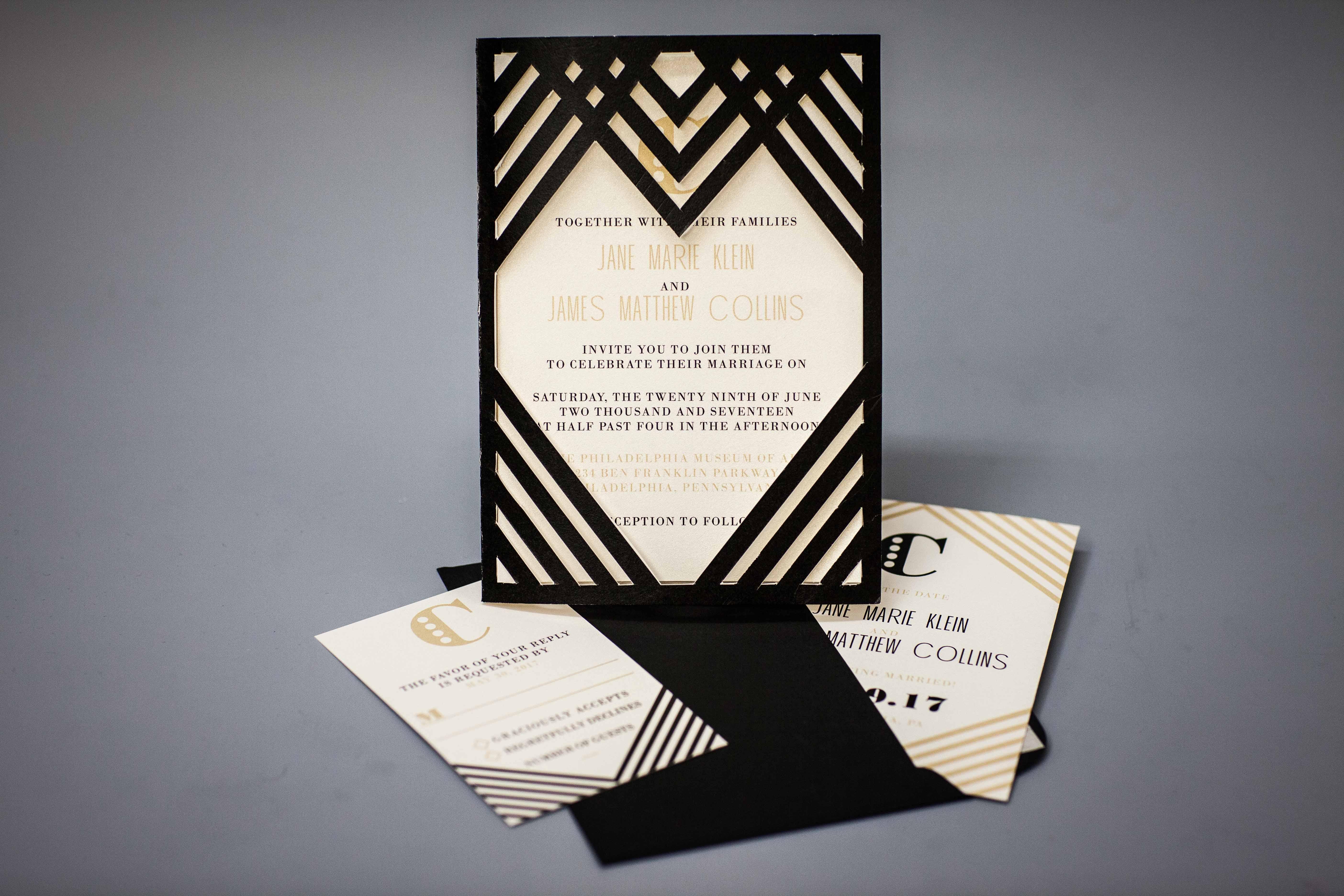 Art Deco Wedding Invite Set
