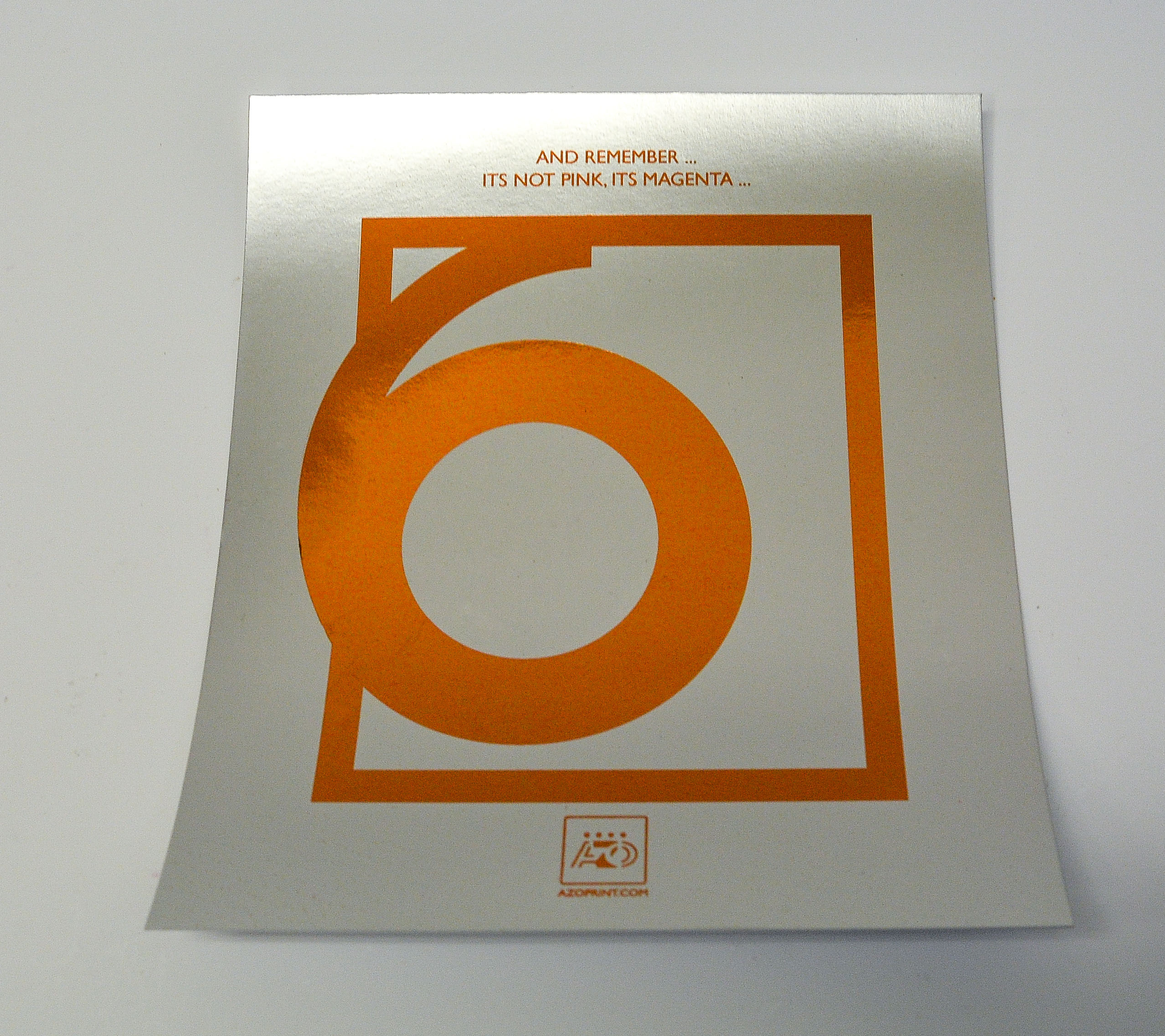 Orange foil on silver laminate