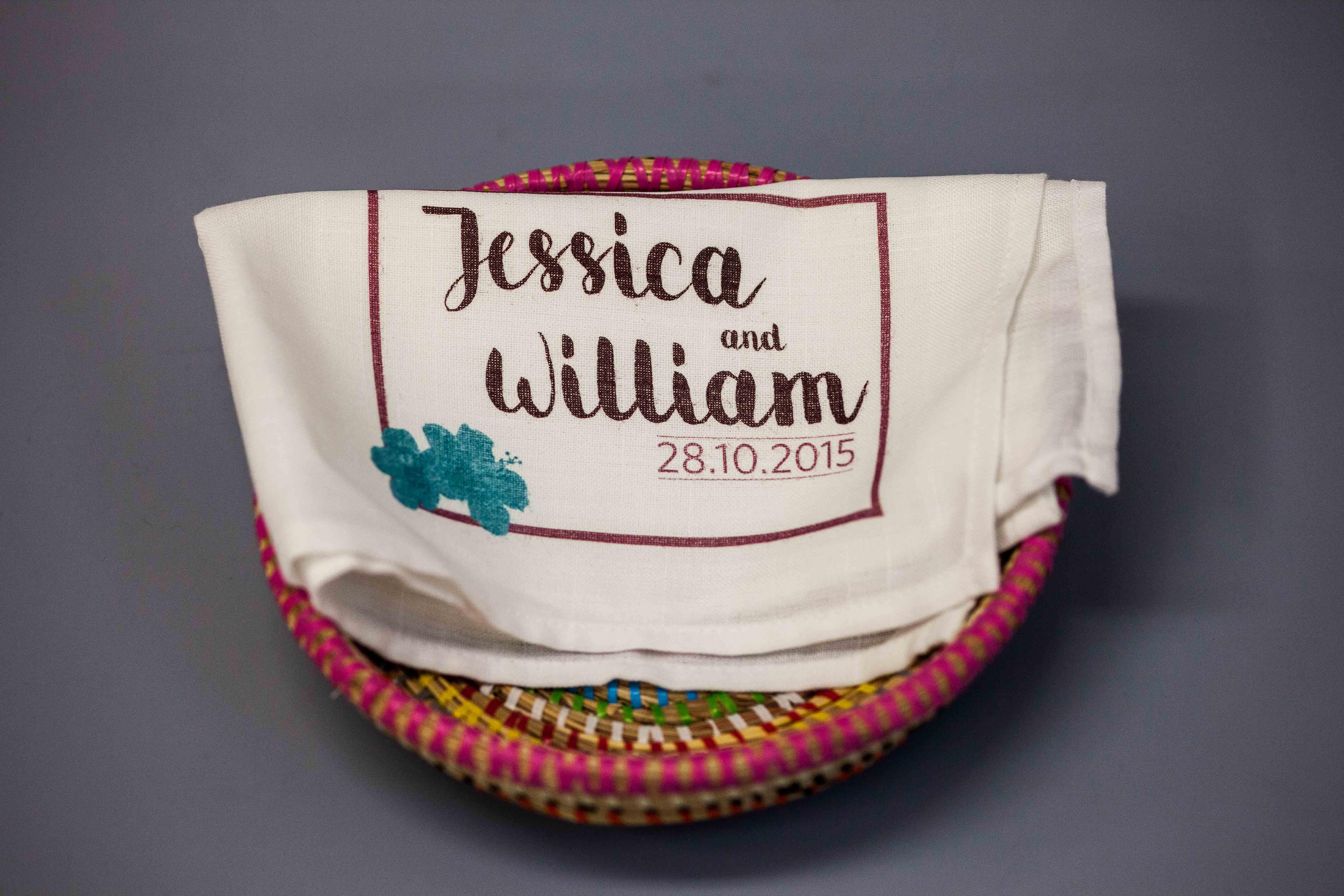Wedding souvenir napkin