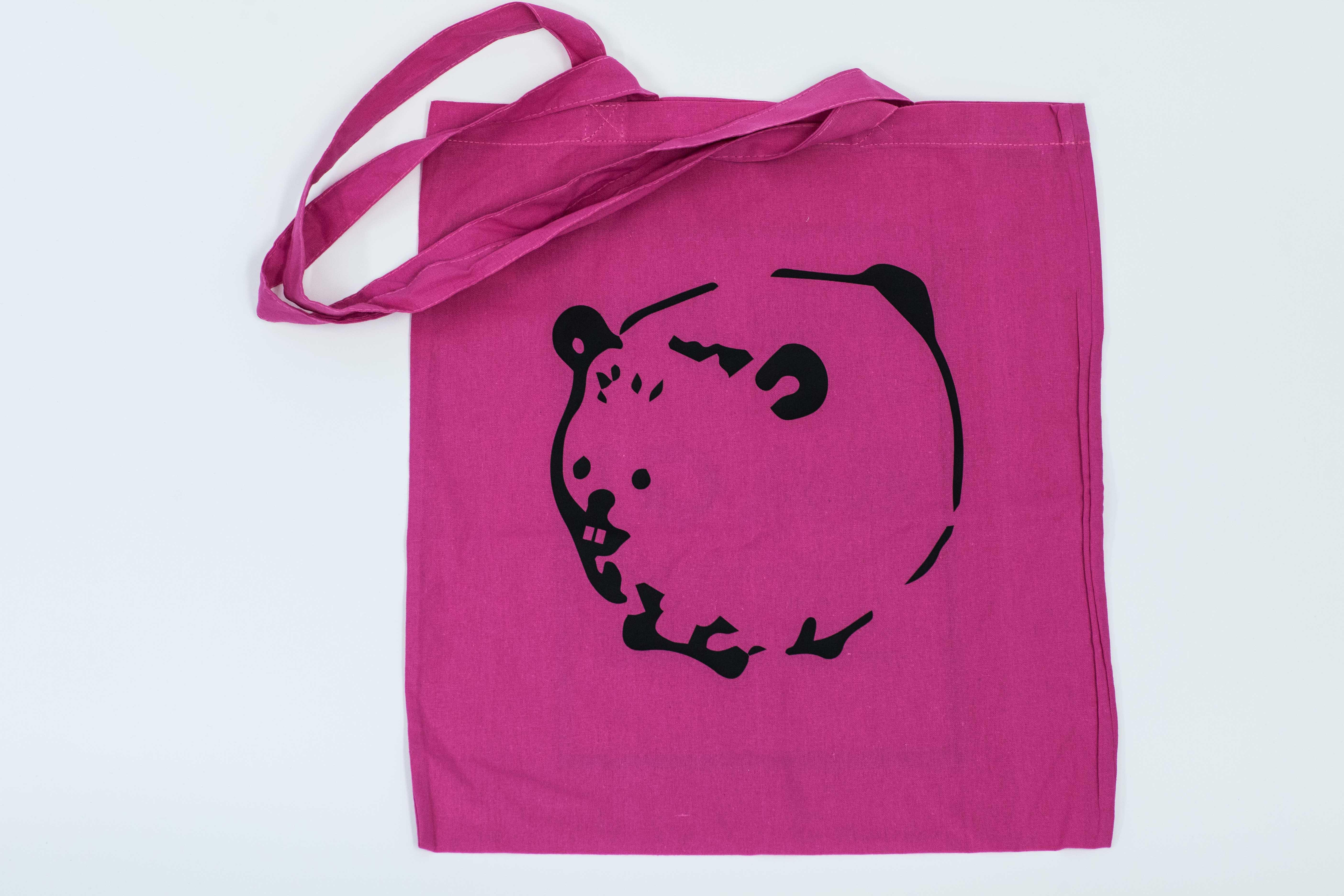 Magenta bag with a vinyl cut process