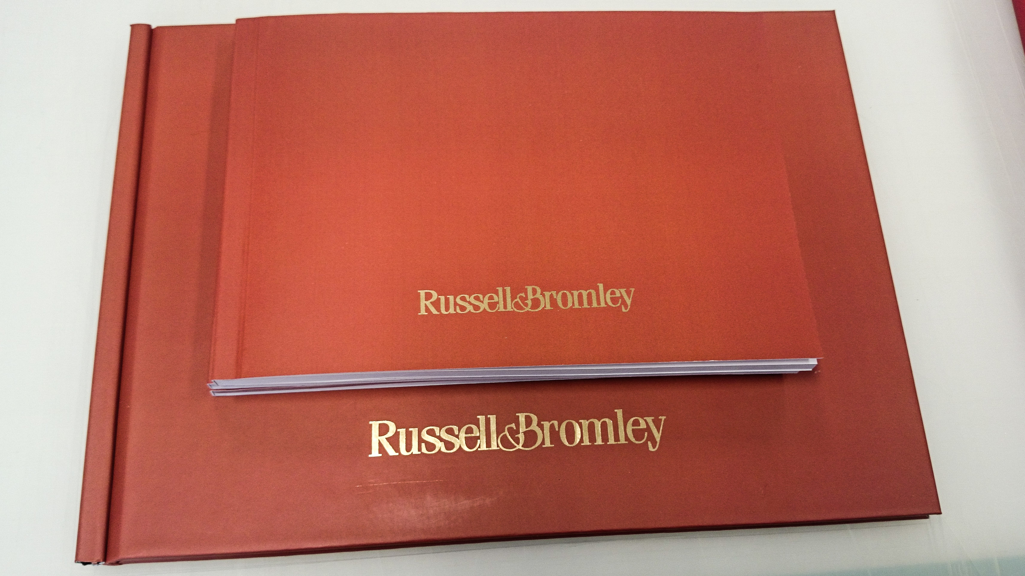 Gold foil on perfect bound books