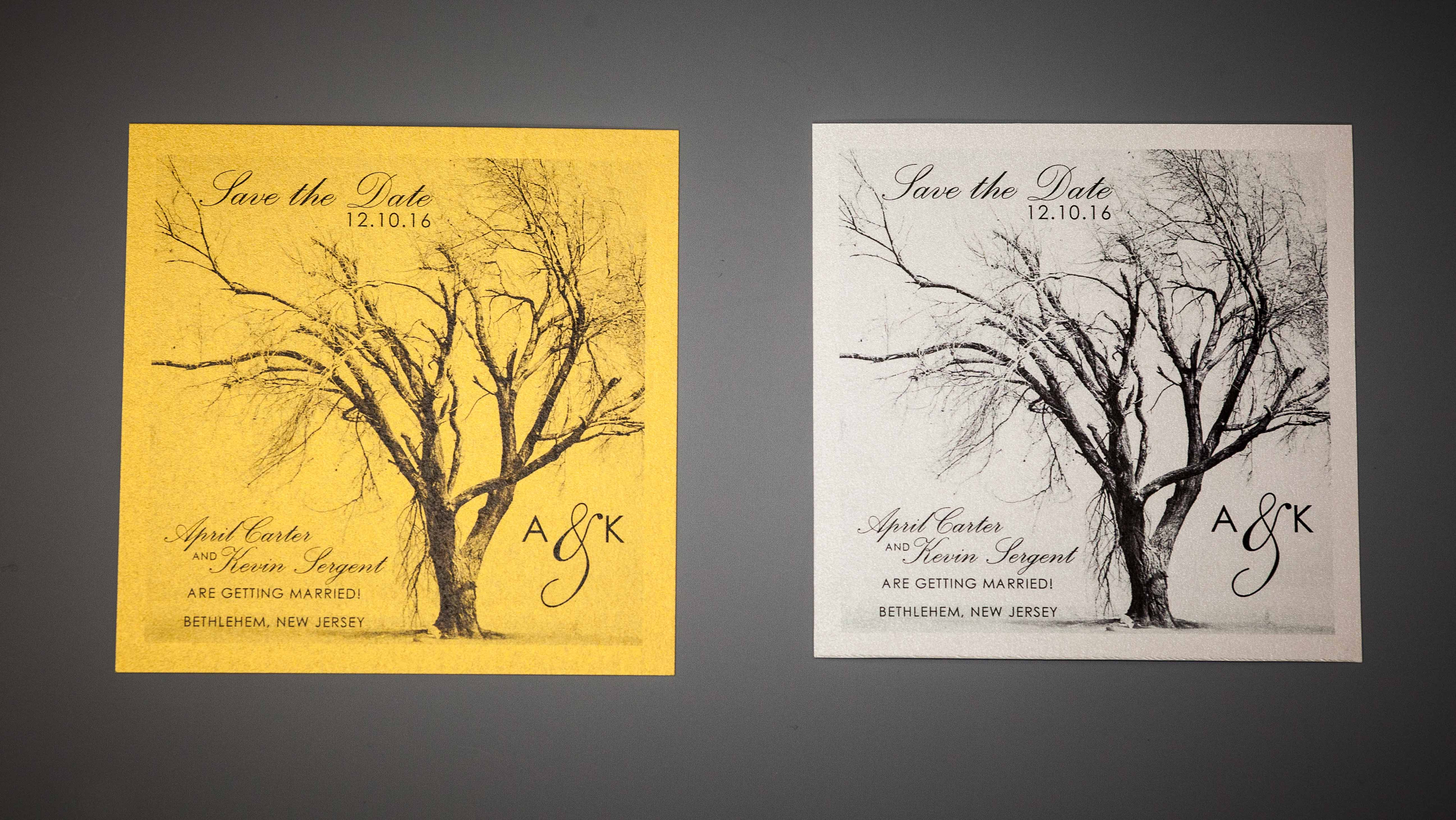 Gold and silver invitations
