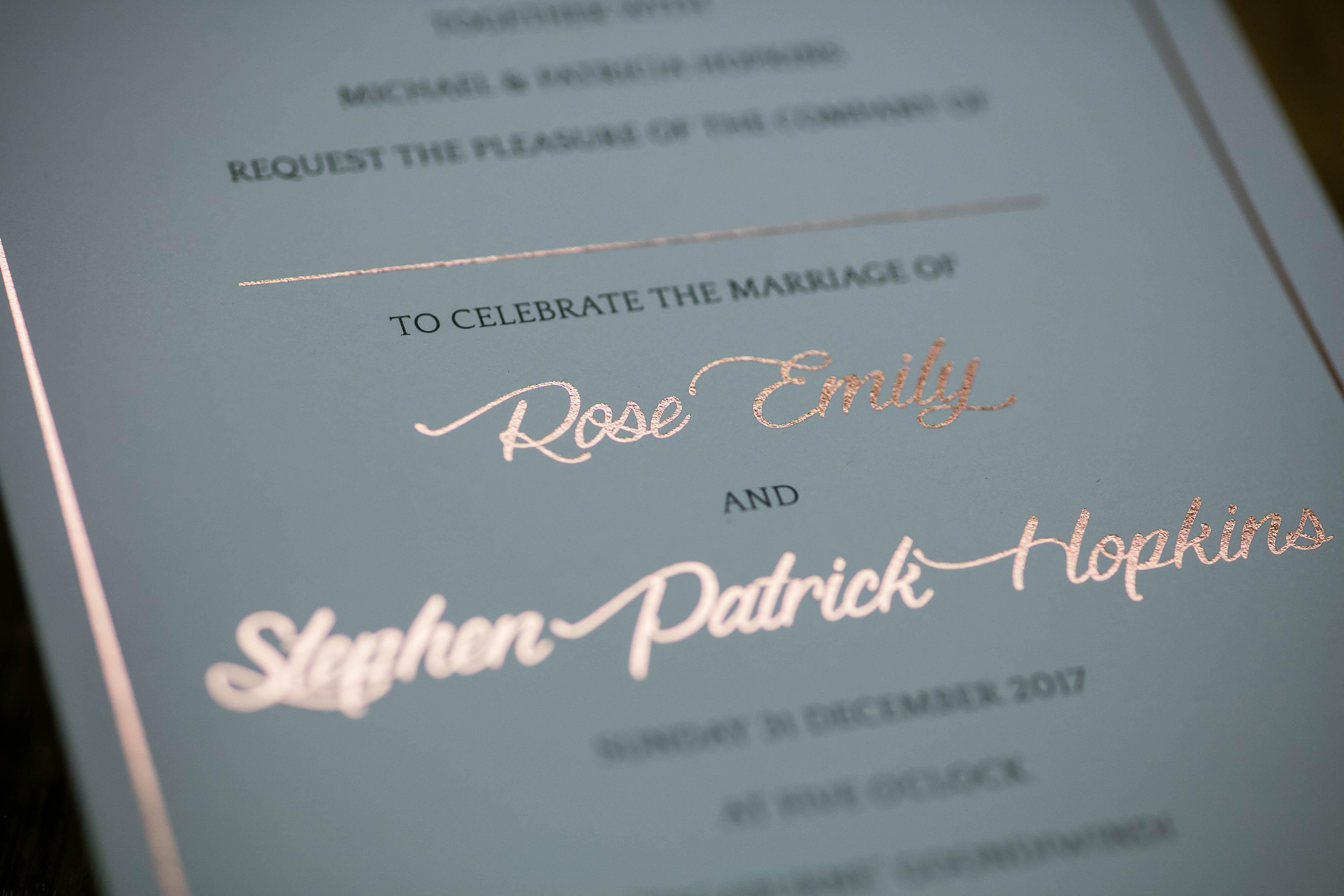 copper foil on wedding invite set
