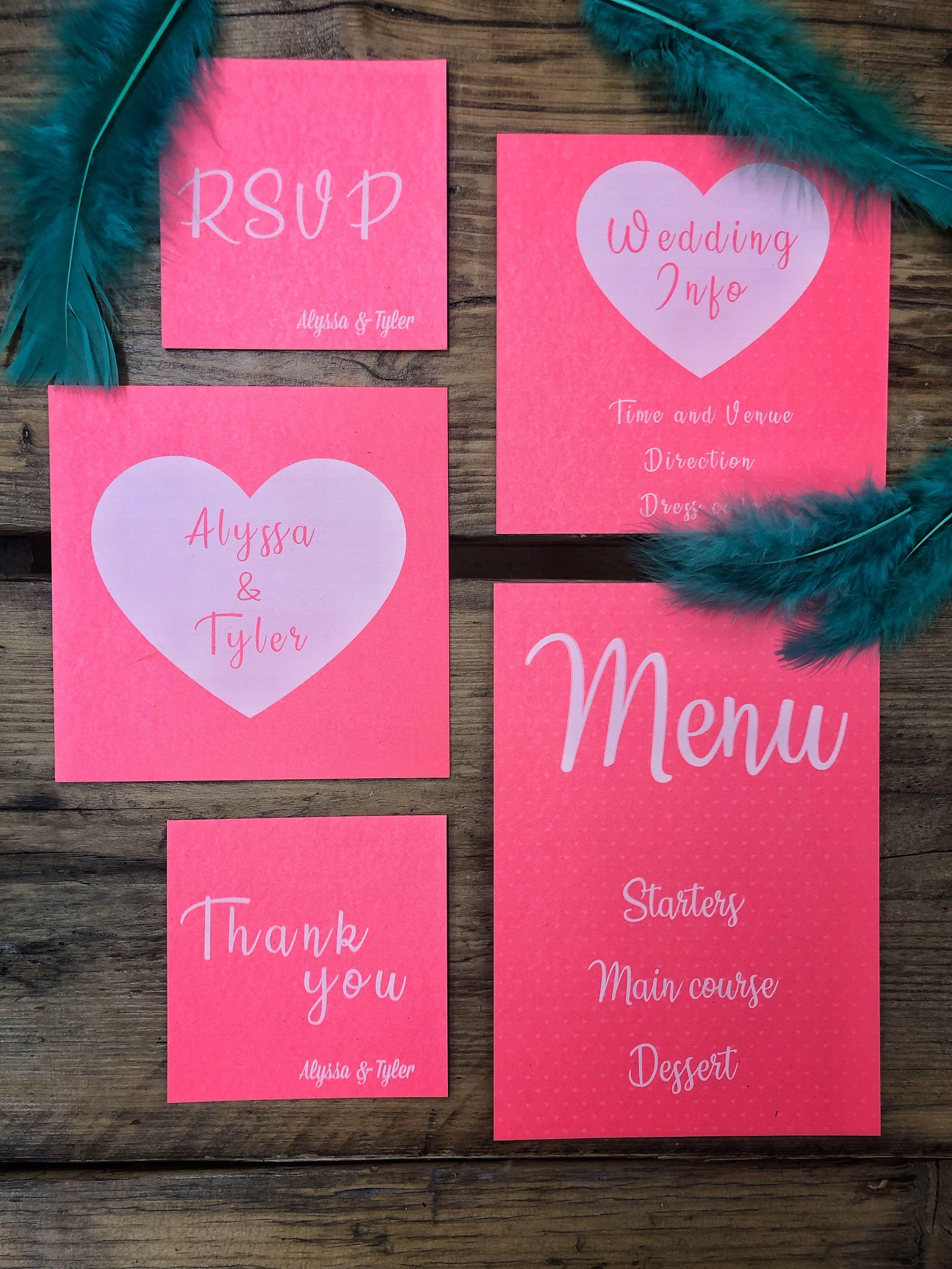White ink on wedding stationery set