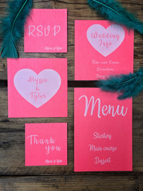 White ink print invitations on perlescent paper