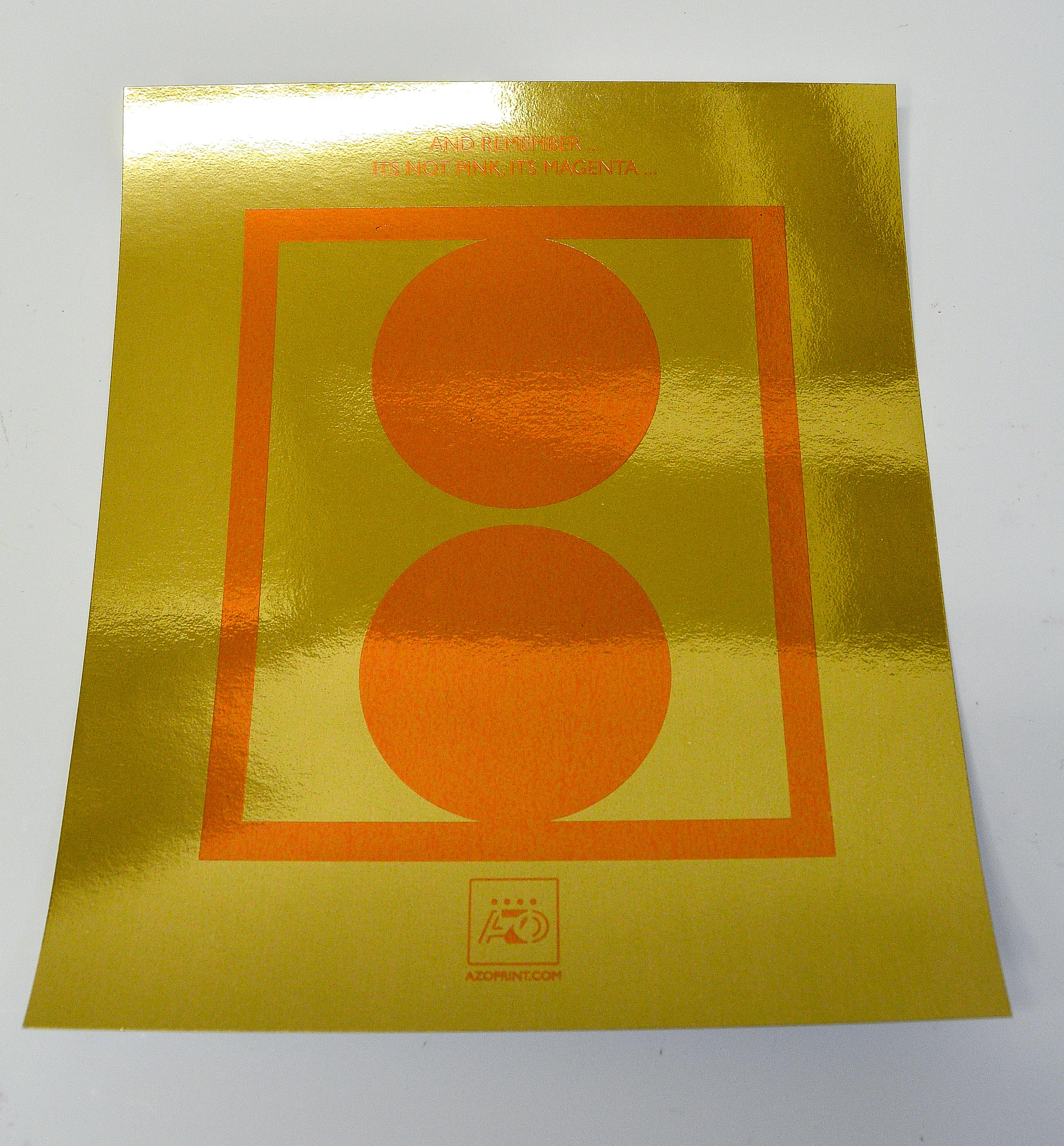 Orange foil on  gold foil