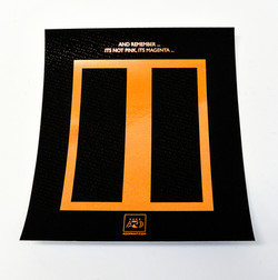 Orange foil on black print