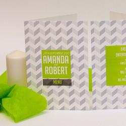 Modern Green Wedding Invite Set