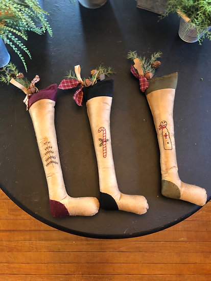 EMBROIDERED STOCKING WITH PINE AND BELL