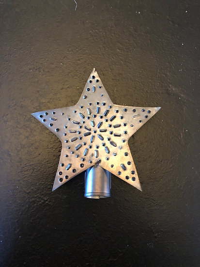 "TIN STAR TREE TOPPER, SMALL 5.5"" X 4"""