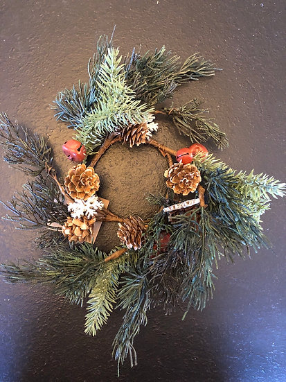 "3.25"" SNOWFLAKE PINE CANDLE RING"
