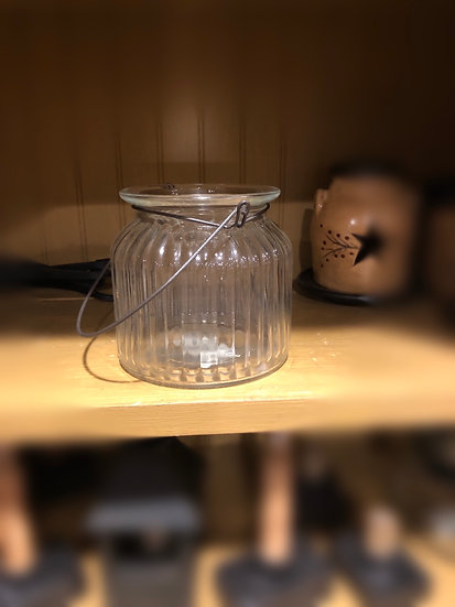 """RIBBED JAR 4.5"""" WITH HANDLE"""