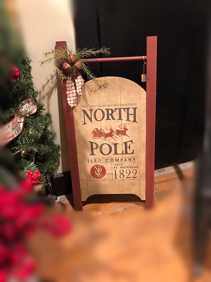 NORTH POLE SLED SIGN