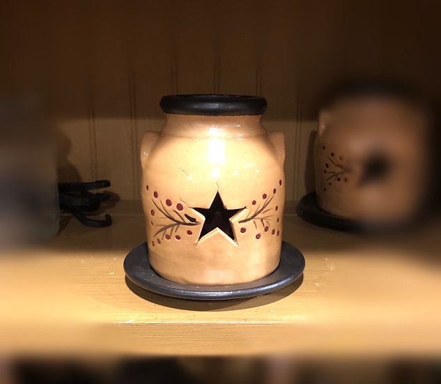 SMALL PRIM STAR CANDLE HOLDER