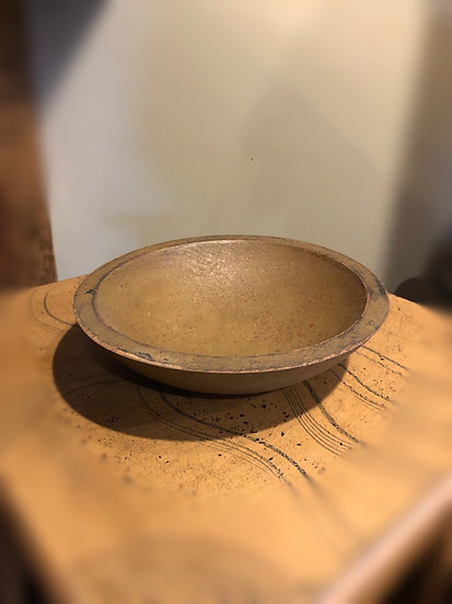 "WOOD BOWL 9"" ANTIQUED"