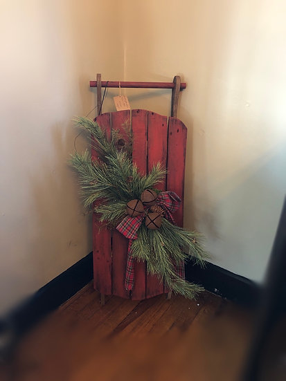 HANDCRAFTED SLED WITH PINE & LIGHTS