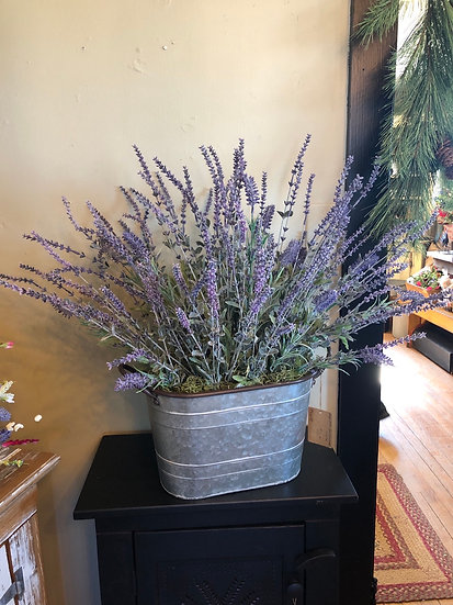 LG GALV OVAL LAVENDER AND HERBS