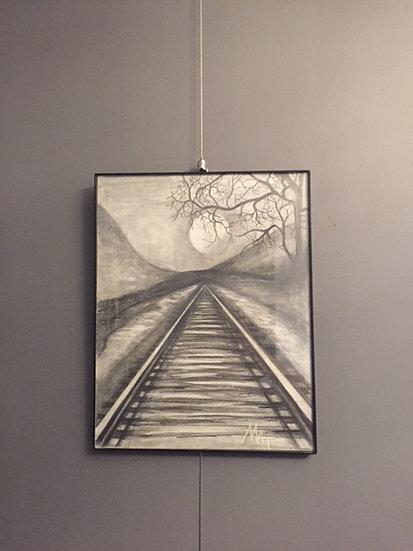 "Down the Tracks. 11x14"" Original Pencil Drawing"