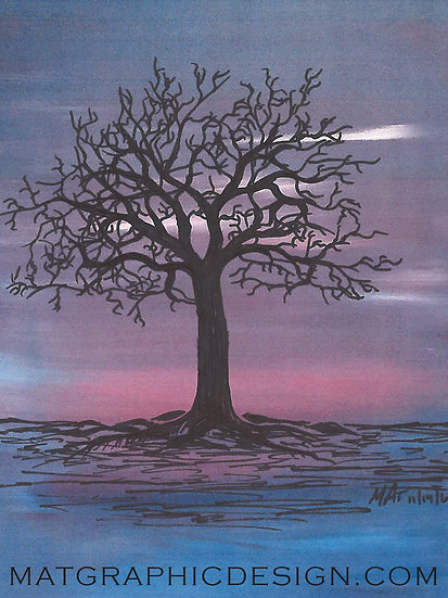 Sunset Tree Magnet