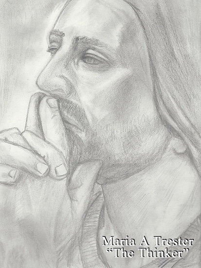 """The Thinker"" 8.5""x11"" Original Pencil Drawing"