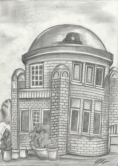 "Blue Dome. 8.5x11"" Original Pencil Drawing"