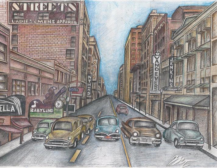 """""""Tulsa, Circa 1950"""" Original 24x18"""" w/ Frame"""