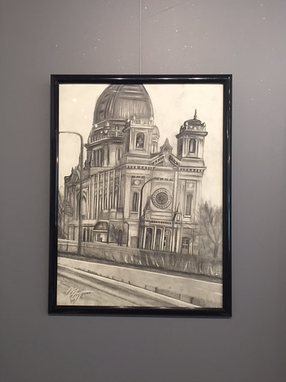 "Church. 18x24"" Original Pencil Drawing"