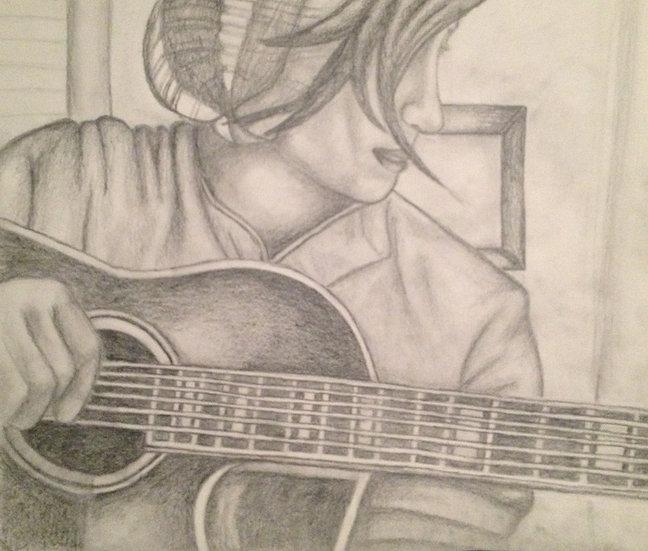 "Me & my Guitar. 12x18"" Original Pencil Drawing"
