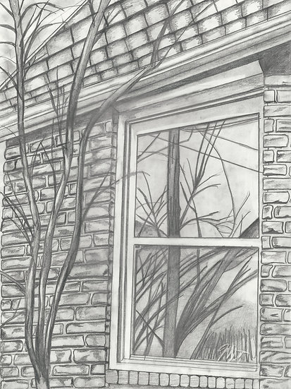 "Secret Window. 18x24"" Original Pencil Drawing"