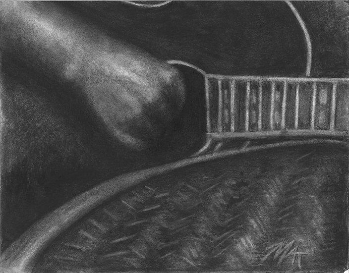 """Dark Guitarist""  Print w/ Frame"