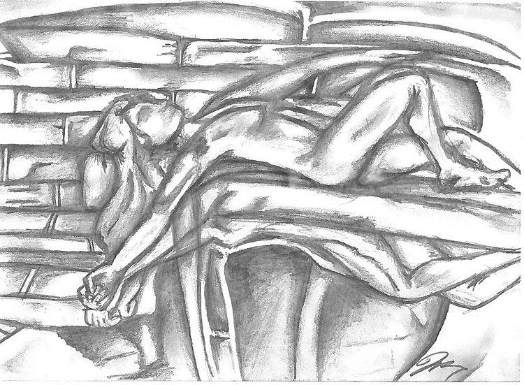 """Lay me Down"" 8.5""x11"" Original Pencil w/ Frame"