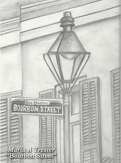 """Bourbon Street"" 8.5""x11"" Print w/ Frame"