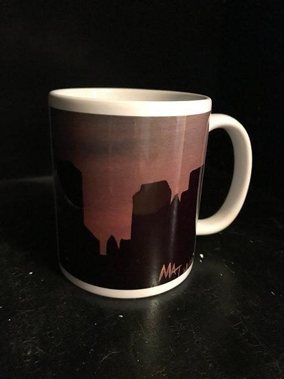 Pink Tulsa Skyline Mug