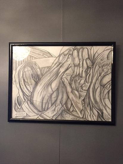 """Abstract. 24x18"""" Original Pencil Drawing"""