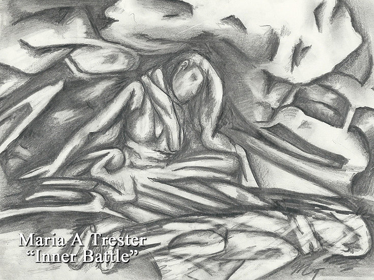 """Inner Battle"" 8.5""x11"" Original Abstract Pencil"