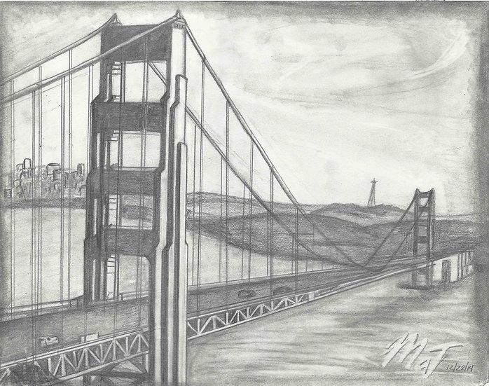 """Golden Gate Bridge"" 8.5""x11"" Print w/ Frame"