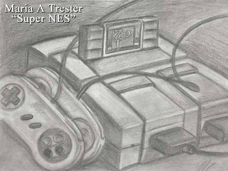 """Super NES"" 8.5""x11"" Original Pencil Drawing"