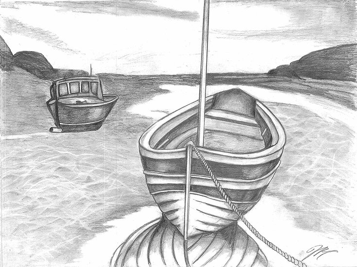 """The Boat  ""Original 24x18"" w/ Frame"